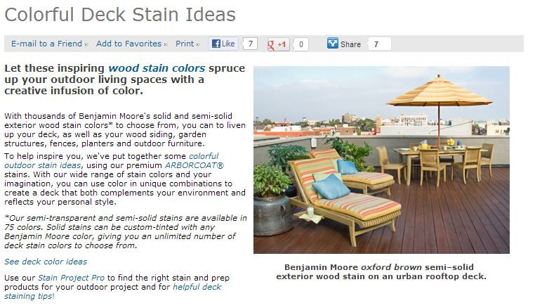 Deck Stain Colors from Benjamin Moore