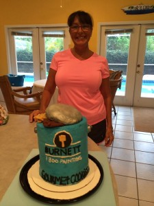 Burnett 1-800-PAINTING Gourmet Cookie Can turns into a cake